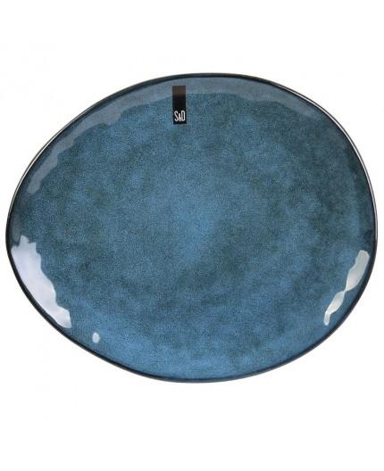 Assiette Plate Galet Bleu