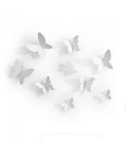 9 Papillons Décor Blanc